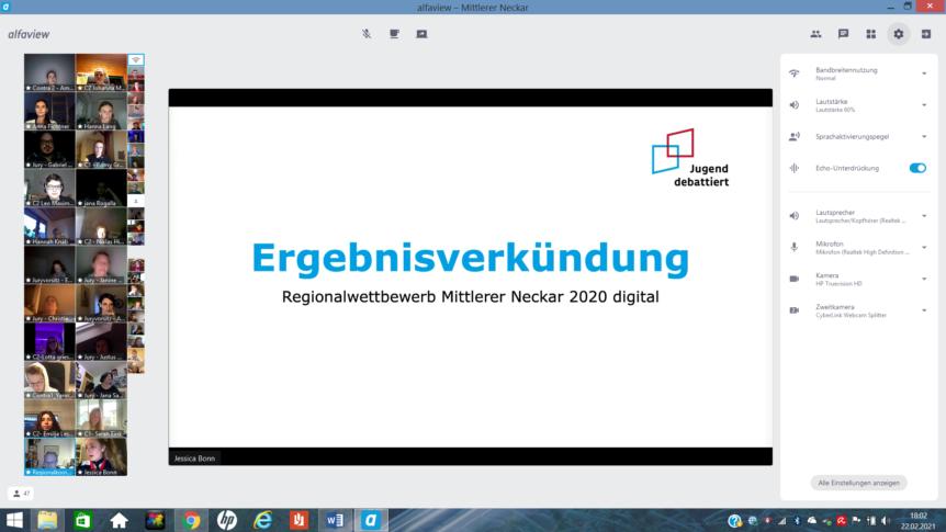 """Screenshot der digitalen Veranstaltung """"Jugend debattiert"""""""