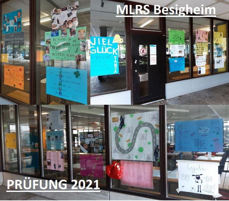 Fenster der MLRS Realschule mit Kunstkollagen voller Glückwünsche